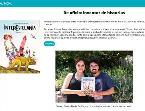 Entrevista a en Tomeu Simó (autor Interestel·lània) a la web Conéctate, del Grupo Anaya